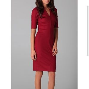 Dvf burgundy wool 3/4 sleeve dress